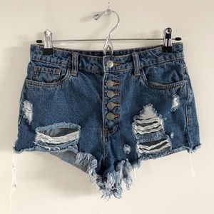 🆕 Forever 21 High Rise Button Fly Cheeky Shorts S
